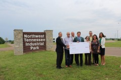 Officials with Union City accept a site development grant from the Tennessee Department of Economic and Community Development for their Northwest Tennessee Industrial Park. After losing the largest employer in the area, the industrial park was one of many ways Union City brought in new, more diverse investment.