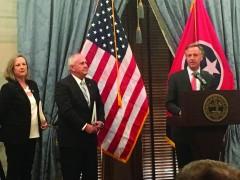 Gov. Bill Haslam, right, presents the TNH20 plan with TDEC Commissioner Shari Meghreblian and Deputy Gov. Jim Henry