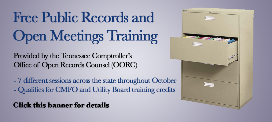 Free Open Records and Open Meetings Training -- Click Banner for Details